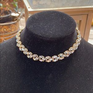 Loft gray crystal choker with gold tone chain.